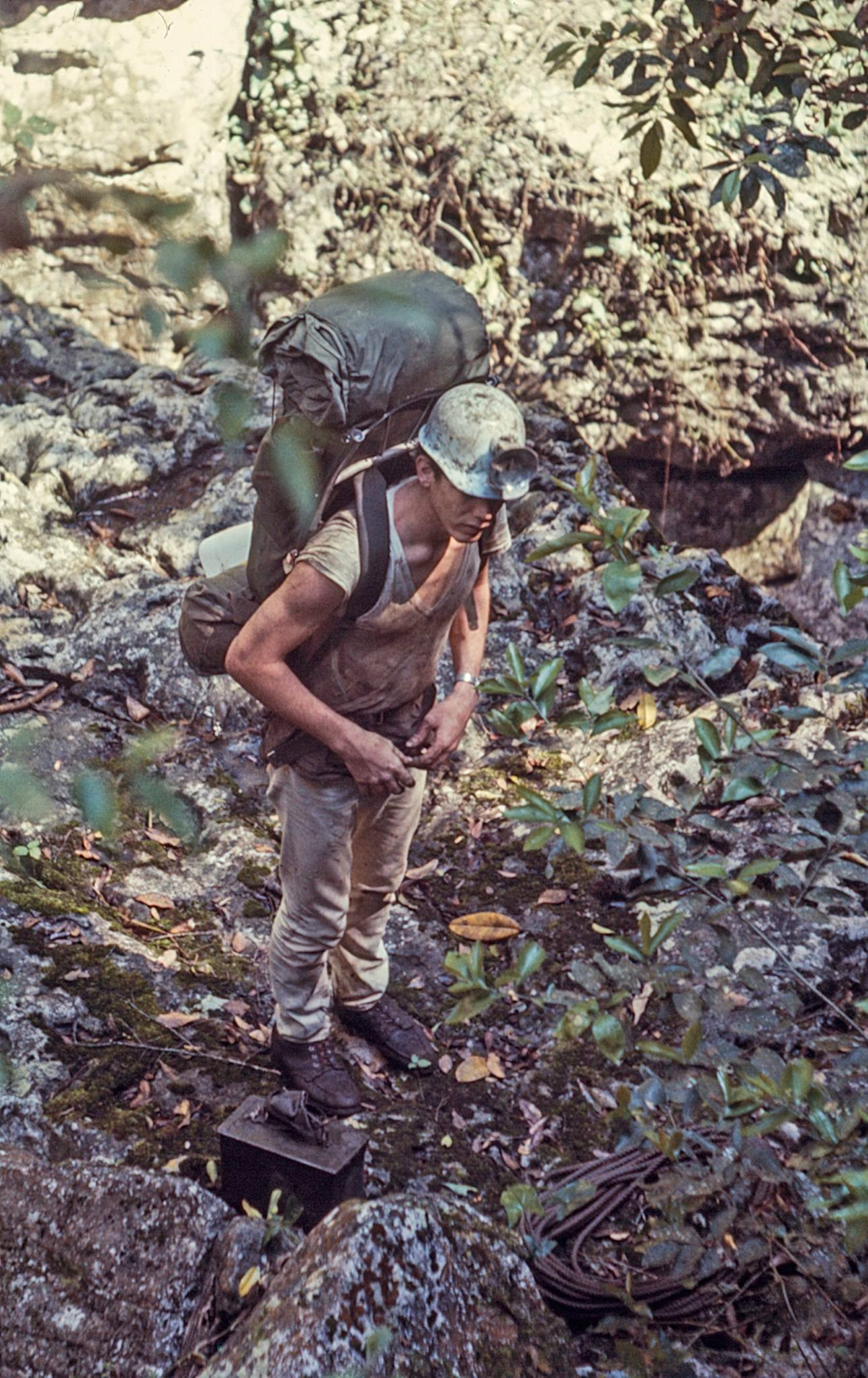 A 1966 photo of David entering Sotano de la Tinaja near Ciudad Valles, Mexico. James Jasek photo.