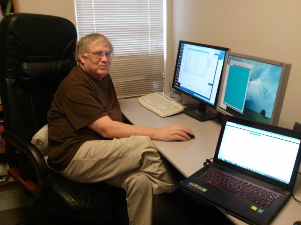 David at his post, working away on cave software as always; photo by Peter Sprouse